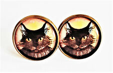 Black Cat Earrings Studs Jewellery Antique Bronze Animal Pet Quirky Kitty BN