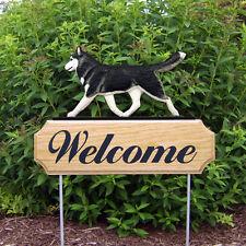Siberian Husky Dog Breed Oak Wood Welcome Outdoor Yard Sign Black/White