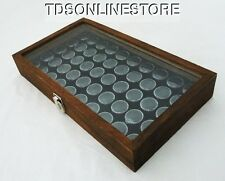 Rustic Antique Brown Color Glass Top Display Case With 50 Gem Jars Black