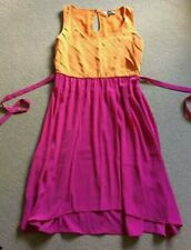 SEXY NEXT BRIGHT ORANGE HOT PINK SATEEN STRAPLESS SHORT PARTY DRESS SIZE 12 NEW