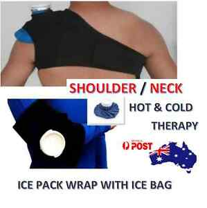 SHOULDER ICE PACK WRAP STRAP BRACE WITH ICE BAG SUPPORT - HOT/COLD THERAPY - ADJ