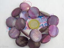 1 filo madreperla grande naturale tonda piatta di 35 mm color viola chiaro 12 pz