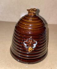 Vintage brown made in Japan Ceramic Bee Hive Honey Pot Jar Pitcher, and lid