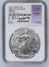 2017 Elizabeth Jones Signed American Silver Eagle $1 NGC MS70 First Day of Issue