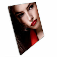 Print on Canvas Bright red lip stick beautiful Brunette Wall Art 30x20 Inch