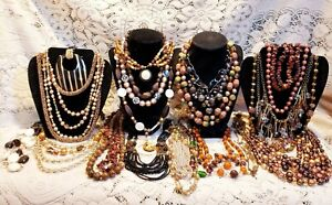 """24 Piece Vintage/Modern """"Go to Town in Brown"""" Mixed Beaded Necklace Lot"""