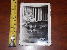 RARE OLD VINTAGE PHOTO OF GIRL PUSHING BOY ON TOY BIKE METAL PUSH