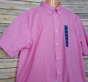 Croft & Barrow Dress Shirt 18 1/2 - 19 2XL Sachet Pink Checks S/S Easy Care New