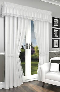 Lima White Lined Crushed Voile Curtains Pencil Pleat