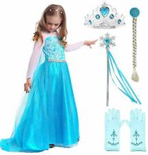Snow Queen Elsa Princess Party Dress Costume with Accessories