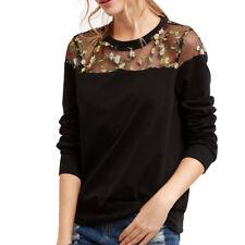 UK Women Lace Long Sleeve Blouse Floral Hooded Sweatshirt Pullovers Tops T-shirt Black L