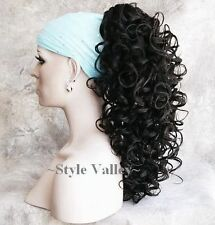 Brown Black Ponytail Hairpiece Long Curly Claw CLIP in on Hair Piece Extension