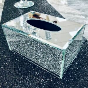 Silver Sparkle Crystal Crushed Glam TISSUE BOX Holder Mirrored Diamond Diamante