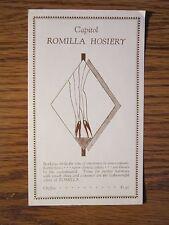 Vintage Stockings Advertising Insert Capitol Romilla Hosiery Silk Seamed Hose