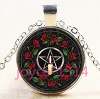 Rose Pentagram Wiccan Cabochon Tibetan silver Glass Chain Pendant Necklace #4504