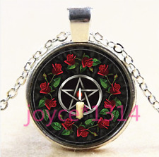 Rose Pentagram Wiccan Cabochon Tibetan silver Glass Chain Pendant Necklace #4504