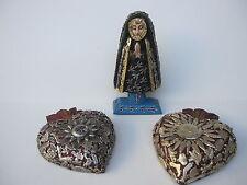 SET VIRGIN DE LA SOLEDAD EN 2 HEARTS WITH SILVER MILAGROS  MEXICAN FOLK ART