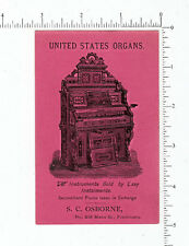 3742 S. C. Osborne piano organ seller trade card music instrument Fitchburg, MA