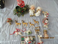 Vintage Lot of Christmas Holiday Plastic Deer & other animals plus more