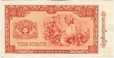 Birmanie Burma 10 Kyat 1965 almost uncirculated  stappled print
