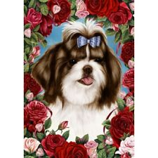 Roses House Flag - Brown and White Shih Tzu 19175