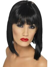 Ladies 80s 1980s Glam Fancy Dress Bob Wig Black Hen Party New by Smiffys
