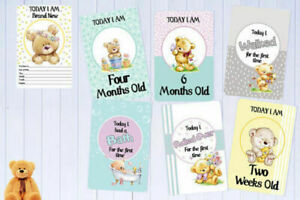 Baby Milestone Cards Teddy Bears Unisex Pack of 34 Baby Gift 300gsm Card