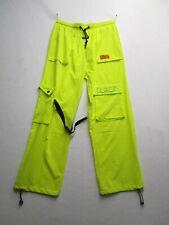 BLACK Womens 34x27 Neon Yellow Cargo Pants Elastic Drawstring Waist Ankle Buckle