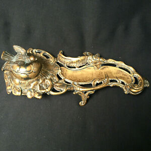 Brass Ornate Hinged Lid Ink Well Bird Handle Ceramic Well Made In Italy