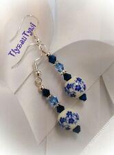 Dangle Earrings (Short)...Porcelain & Crystal...Blues...Silver Plated