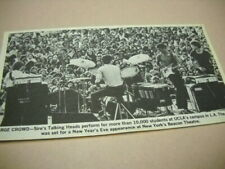 Talking Heads perform outdoors at Ucla original 1979 music biz promo pic/text
