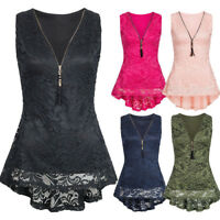 Women Floral Lace Zip Up Tank Tops Sleeveless Slim Vest Summer T-Shirts Blouse A