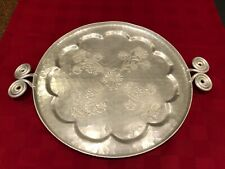 Hammered Aluminum Round Tray 17 inch hand forged with handles