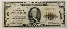 1929 First National Bank In East St. Louis Illinois $100 Bank Note LOW SERIAL #!