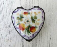Limoges France Heart Trinket Box Hand Painted Signed Rochard