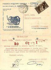 REGNO-30c X ANNUALE(330)-Cartolina CERERE MACCHINE AGRICOLE-23.1.1934