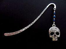 A TIBETAN SILVER & BLUE CRYSTAL BEAD  ENGRAVED  SKULL CHARM BOOKMARK. NEW.