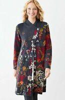 J Jill Cardigan Alpaca Wool Blend Woven Floral Asymetrical Long Sweater Sz XS
