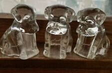 3 ANTIQUE CLEAR GLASS CANDY CONTAINERS, SEATED PUPPY DOGS, vintage Hounds LOT