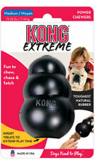 KONG Extreme Black Medium Rubber Dog Chew Toy Tough Power Chewers Made in USA
