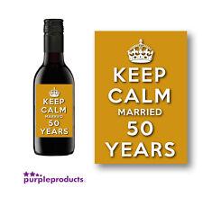 10x KEEP CALM cinquantesimo anniversario D'ORO MINI etichetta del vino, coniugato 50 anni