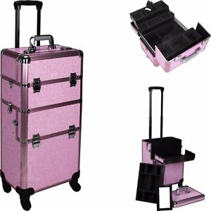 New 2 in 1 Pro Aluminum Rolling Makeup Case Salon Cosmetic Organizer Trolley