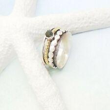 Moldavit Druse grün dunkel gold Drehring Ring Ø 17,75 mm 925 Sterling Silber neu