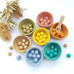 Sorting Felt Bowls Toy, PASTEL, Counting, Montessori Sensory Play, Educational
