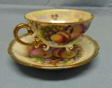 GORGEOUS SET CUP&SAUCER  PATTERN-ORCHARD FRUIT  GOLD TRIM MADE JAPAN VINTAGE