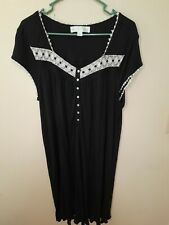 Eileen West XL Women's Black And White Embroidered Nightgown