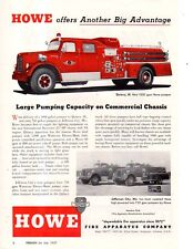 1957 Howe Pumper Fire Engines Ad sent to Quincy IL and Jefferson City MO