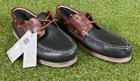 New Marks And Spencer Mens Navy Mix Natural Waxed Leather Boat Shoes Size Uk 12