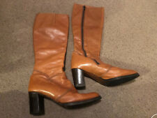 Bally Brown Leather Knee High Heel Boots Size 4.5