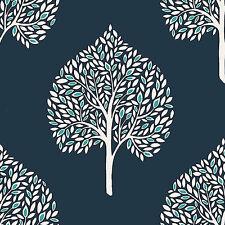 FD22705 - Mirabelle Room Navy Tree leaves Fine Decor Wallpaper